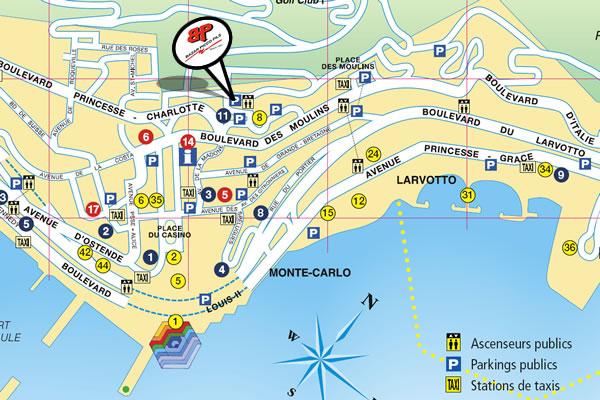 Implantation - Monaco Parkings